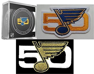 """St Louis Blues Puck & Two Patch Set 50Th Anniversary """"gold"""" & """"blue/gold"""" Style"""
