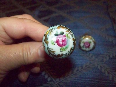 4 Antique hand painted knobs from France in Light Blue/Floral/Gold