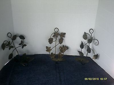 Set Of 3 Metal Butterfly & Leaf Candle Wall Sconces-Black/gold-Nice