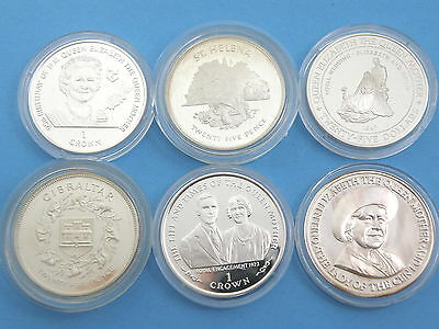 SIX x SILVER PROOF CROWN COINS - ISLE OF MAN / GIBRALTAR / ST, HELENA / JAMAICA