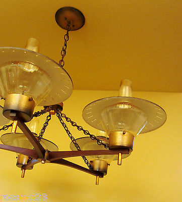 Vintage Lighting 1950s Eames Mid Century large 33 wide Ranch Cabin chandelier