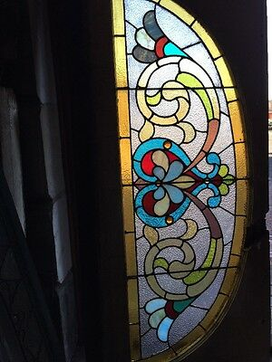 "Sg 937 Antique Stainglass Arch Window 26"" X 56"""
