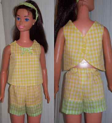 Yellow and Green Gingham Summer Short Set for My Size Barbie