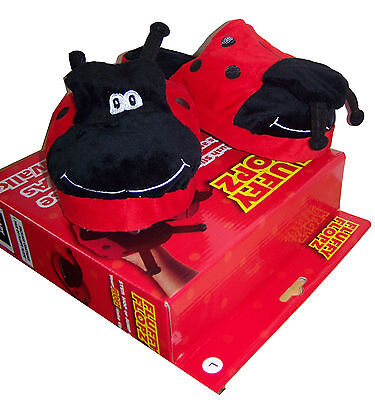 Childrens Slippers Warm Plush Red/Black Set Boxed Gift Ladybird Theme Playing