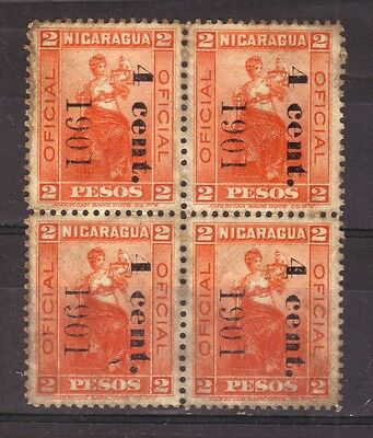 NICARAGUA 1901 Official, Block of 4 with overprints MNH