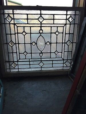 Sg 940 Antique Textured Glass Beveled Jeweled Landing Window