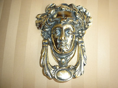 English Brass Door Knocker-Grecian Head.