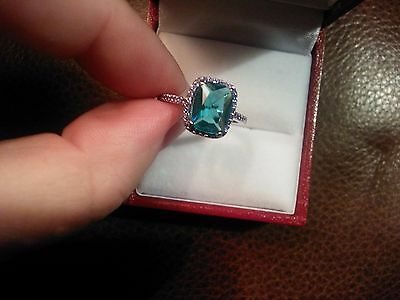 NEW STUNNING 2ct AQUAMARINE AND BLUE SAPPHIRE STERLING SILVER 925 RING SIZE 0