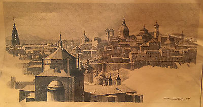 GREAT ORIENTALIST CHARCOAL ANTONIO FUENTES (Tanger 1905 1995) View of Sevilla