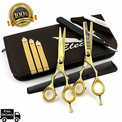 Professional Barber Hairdressing Scissors Thinning & Hair Cutting Set Gold 5.5""