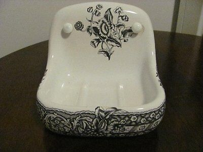 Antique Porcelaine De Paris Shabby Floral Toile Wall Mount Soap Dish