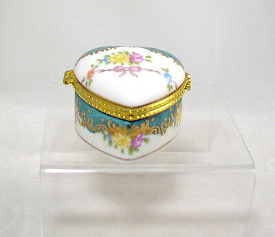 Porcelain Hinged Off White Heart Shape Trinket Box - Painted Floral Accents