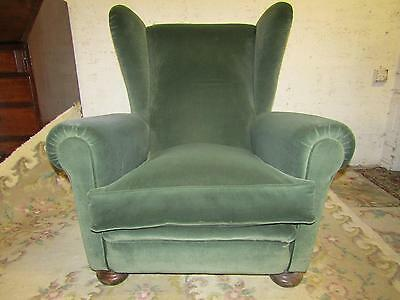 Wingback armchair, green velour, deep and comfy, great condition