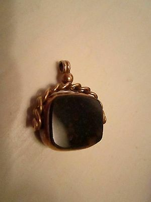 Antique 9ct gold Carnelian  and blood stone fob seal