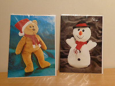 Ty Beanie Babies Rare Christmas Cards - Holiday Teddy And Snowman Brand New