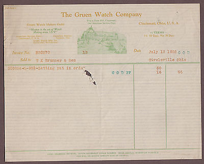 The Gruen Watch Company 1922 Billhead Cincinnati Ohio