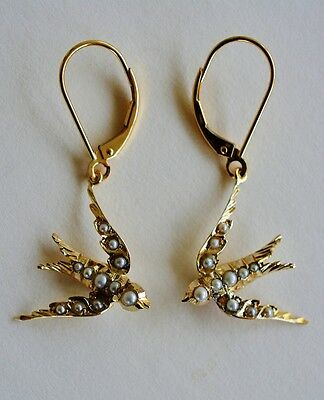 Victorian Gold And Seed Pearl Swallow Bird Earrings