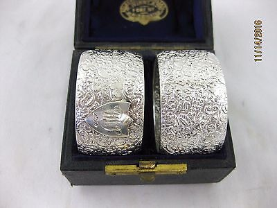 Antique Solid Silver  Boxed PAIR OF NAPKIN RINGS Hallmarked BIRMINGHAM 1880