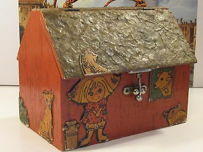 Antique/vintage Wooden Toy Barn/box In Great Usable Cond/shale Looking Roof/nice