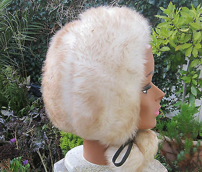 Very pretty 1970s vintage Italian lamb fur bonnet hat hood with ties and pompoms
