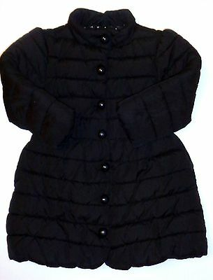 Next Girls Black Padded Quilted Long Jacket Coat 3-4 years Excellent Condition