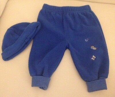 Boys Blue Cosy Joggers And Matching Hat! Age 3-6months. VGC