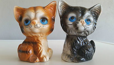 Vintage Kitsch Figurines Cute Cats Salt/Pepper Shakers