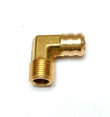 "5/8"" Hose ID Barbed 3/8"" NPT Male Elbow Brass Fitting Air, Water, Oil, Gas"