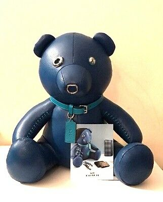 """NWT Coach Limited Edition Collectible """"Ace"""" Denim Blue Leather Bear F56844"""