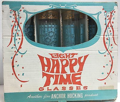 NIB*Vintage*Anchor Hocking*Happy Time 11 oz Turquoise Blue/Gold*Glasses 16311Y