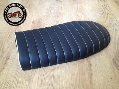 Black Leather Look Flat Cafe Racer Seat Brat Style +Multi Fit Brackets * Project