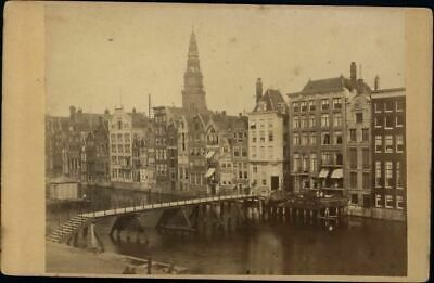 Amsterdam Damrak early canal view 1860-70's Nederland Holland antique photo card