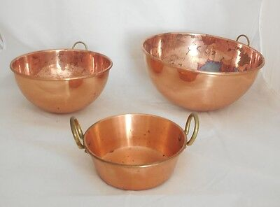 """Lot of 3 Kitchen Culinary Copper Mixing Bowls 8 & 10"""" Brass Handles Mini Jam Pan"""