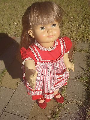 """Vintage 28"""" IDEAL SAUCY WALKER w/Long Blond Re-Rooted Hair RARE DRESS! OOAK EUC!"""
