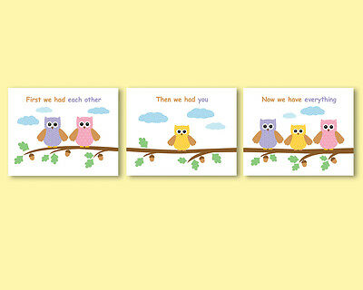 3 prints / posters for nursery, kids room decor, baby shower gift - owls family