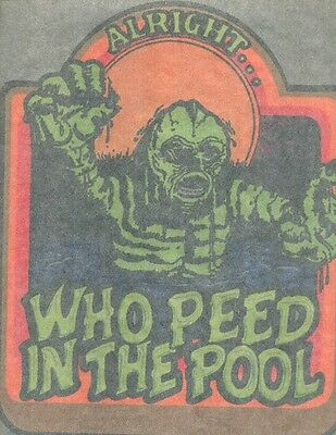 WHO PEED IN THE POOL  iron on t shirt transfer vintage 70s full size NOS