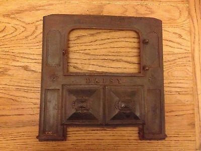 "Antique Daisy CAST IRON Stove Front Part Ornate Art Repurpose 14 3/4"" x 14 3/4"""