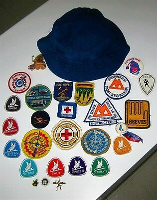 Vintage Girl Guides of Canada Patches, Badges Campsites, Instructors Hat 70's