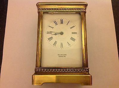 Antique French W.H.Wilkin Douglas Solid Brass Carriage Clock