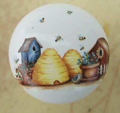 Cabinet Knobs  3 Beehive and birdhouses Pretty Insect