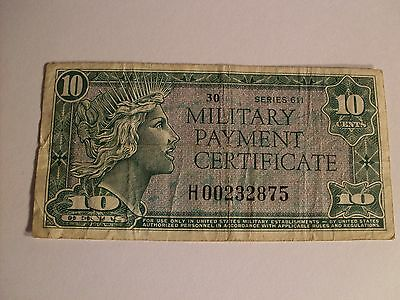 Series 611 10 Cent Military Payment Certificate REPLACEMENT Note