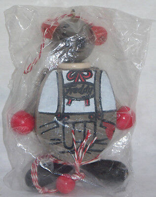 NIP FAMO wood FREDDY the MOUSE Christmas ORNAMENT with PULL STRING from AUSTRIA