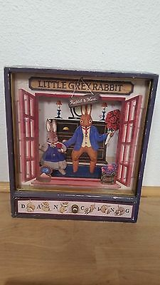 Vintage Sankyo LITTLE GREY RABBIT Rabbit & Hare Dancing Orgel Music Box JAPAN