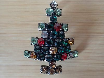 Multi-Colored Rhinestones Small Christmas Tree Pin/Brooch