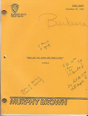 """Original MURPHY BROWN Script Ep 36 """"What Are You Doing New Year's Eve?"""" Season 2"""