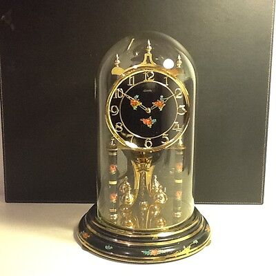Vintage Kundo Brass Twin Train Anniversary Mantel Clock black floral motifs