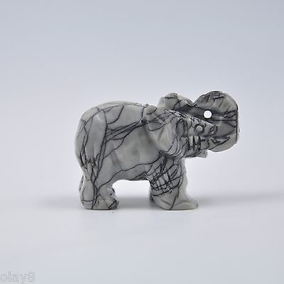 """New Arrival """"OL8"""" Natural Jade Jadeite Lovely Elephant Statue 40x20x25mm"""