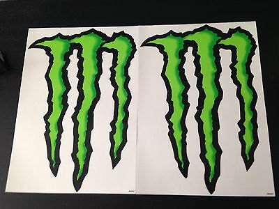 Lot Of 2 Monster Energy Drink Stickers Claw 10X14 Inches Tall