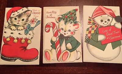 Lot Of 3 Unused Children's Christmas Cards Animals Snowman - Mid-Century
