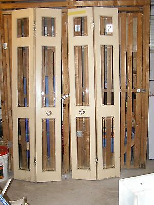 Standard Solid Wood bifold Doors clear & with 3 Beveled Glass Panes (48W total)